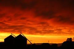 Bauernhof-Sonnenuntergang Stockbilder