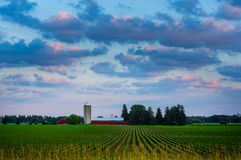 Bauernhof Southwestrn Ontario bei Sonnenuntergang Lizenzfreie Stockbilder