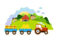 Bauernhof und Ackerland, das Dorf mit Gärten, Grün, Ernte, Korn stock abbildung