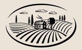 Bauernhof und Feld vektor abbildung