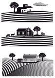 Bauernhof und Felder Stockbild