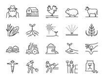 Bauernhof und Landwirtschaftslinie Ikonensatz Schloss die Ikonen wie Landwirt, Bearbeitung, Anlage, Ernte, Viehbestand, Vieh, Bau lizenzfreie abbildung