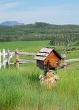 Bauernhof und Wiese Stockbild