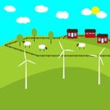 Bauernhof und Windmühlen Stockfotos