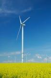 Bauernhof von windturbines nah an Rapsfeld Stockfotos