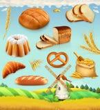 Bauernhof Weizen und Brot Satz des Vektors 3d lizenzfreie abbildung