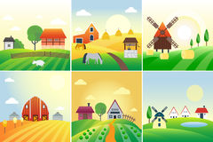 Bauernhoffeld-Vektorillustration Lizenzfreies Stockfoto