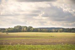 Bauernhoffelder am Ende des Sommers Stockfotos