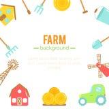Bauernhofhintergrund Karikaturelemente der Landwirtschaft Stockbild