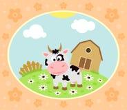 Bauernhofhintergrund mit Kuh Lizenzfreies Stockbild