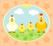 Bauernhofhintergrund mit Huhn Stockfoto