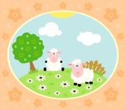 Bauernhofhintergrund mit Schafen Stockfotografie