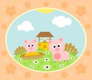 Bauernhofhintergrund mit Schwein Stockfoto