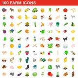 100 Bauernhofikonen eingestellt, isometrische Art 3d Lizenzfreie Stockfotos