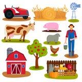 Bauernhofikonen-Vektorillustration Lizenzfreie Stockfotos