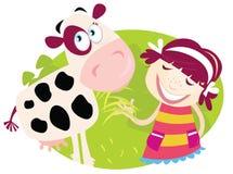 Bauernhofmädchen mit kleiner Kuh lizenzfreie abbildung