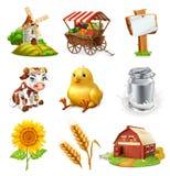 Bauernhofsatz Landwirtschaftliche Anlagen, Tiere und Gebäude Übersetzt Ikone stock abbildung