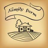 Bauernhofskizze auf Beige Lizenzfreie Stockfotos
