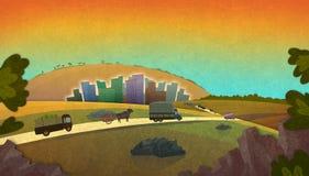 Bauernhofwarentransport zum Stadtmarkt vektor abbildung