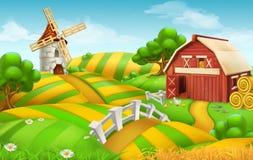 Bauernhofweidelandschaft, Vektorhintergrund lizenzfreie abbildung