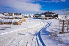 Bauernhofyard im Winter Lizenzfreies Stockfoto