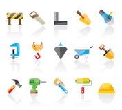 Baugewerbe- und Werkzeugikonen Stockfotos