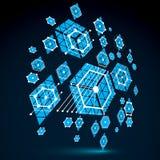 Bauhaus art, 3d modular blue vector wallpaper made using hexagon Stock Photos