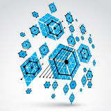 Bauhaus art, 3d modular blue  wallpaper made using hexagon Stock Image