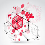 Bauhaus art, 3d modular red vector wallpaper made using hexagons. And circles. Retro style pattern, perspective graphic backdrop for use as booklet cover Stock Photo