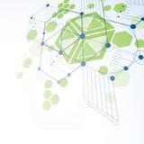 Bauhaus art dimensional composition, perspective green modular v Stock Photo