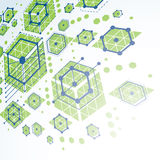 Bauhaus art dimensional composition, perspective green modular v Royalty Free Stock Image