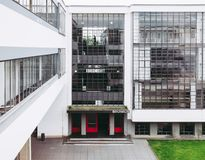 Bauhaus Dessau. DESSAU, GERMANY - JUNE 13, 2014: The Bauhaus art school iconic building designed by architect Walter Gropius in 1925 is a listed masterpiece of royalty free stock photography
