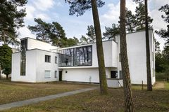 Bauhaus Master house building in Dessau, Germany. DESSAU, GERMANY - MARCH 30, 2018: The Bauhaus master house building designed by architect Walter Gropius in Royalty Free Stock Photo