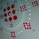 Bauhaus retro wallpaper, art vector background made using grid a. Nd circles. Dimensional geometric red graphic 1960s illustration can be used as booklet cover Royalty Free Stock Images