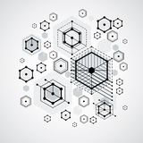Bauhaus retro wallpaper, art vector black and white background m. Ade using grid, circles and rhombuses. Geometric graphic 1960s illustration can be used as royalty free illustration