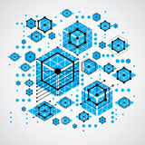 Bauhaus retro wallpaper, art vector blue background made using g. Rid, circles and rhombuses. Geometric graphic 1960s illustration can be used as booklet cover Royalty Free Stock Images