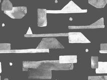 Bauhaus Seamless Pattern. Watercolor Geometric  Black and White Lines Design. Art Organic Geo Background. Large Artistic Minimal Print. Trendy Fun Abstract stock illustration