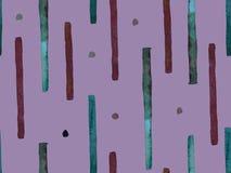 Bauhaus Seamless Pattern. Watercolor Geometric  Purple Violet Lines Design. Art Organic Geo Background. Large Modern Minimal Print. Trendy Fun Abstract Paint stock illustration