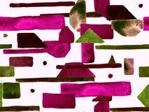 Bauhaus Seamless Pattern. Watercolor Geometric  Red Pink Lines Design. Art Organic Geo Background. Big Fashion Minimal Print. Trendy Fun Abstract Paint royalty free illustration