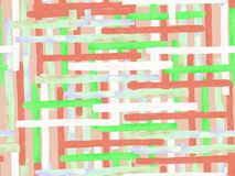 Bauhaus seamless pattern. Watercolor geometric red pink lines design. Art organic geo background. Large contemporary minimal print. Trendy fun abstract paint stock illustration