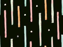 Bauhaus Seamless Pattern. Watercolor Geometric  Red Pink Lines Design. Art Organic Geo Background. Large Creative Minimal Print. Trendy Fun Abstract Paint vector illustration