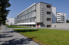 Bauhaus from south, dessau. View in direction south, as seen from the street,  of the building symbol of modern architecture in the twenties Stock Image