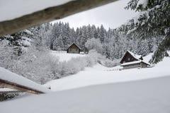 Bauholz-Häuser Stockbild
