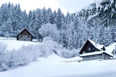 Bauholz-Häuser in der Snowy-Landschaft Stockfotos