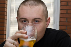 Bauholz-Zehe durch Bier Stockbild