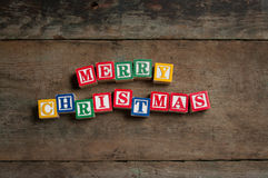 Bauklötze der frohen Weihnachten Lizenzfreies Stockfoto