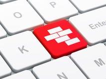 Baukonzept: Ziegelsteine auf Computertastaturhintergrund Lizenzfreies Stockbild