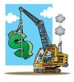 Baukran, der einen großen grünen Dollar si anhebt Stockfotografie