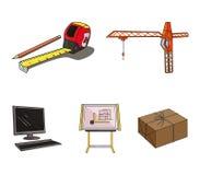Baukran, messender Maßband, Reißbreit, Computer Gesetzte Sammlungsikonen der Architektur in der Karikaturart Stockfoto