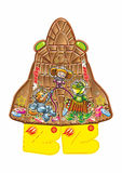 BAUL 2016 BURAN a. Half baula gift in the form of chocolate blizzard rocket with astronauts cat, crocodile, monkey, bear, girl, lemurs Royalty Free Stock Images
